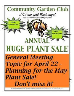 April 22, 2015 Garden Club Meeting – topic – May Plant Sale!