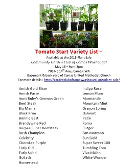 Plant Sale – Tomato Variety List – May 16, 9am-3pm