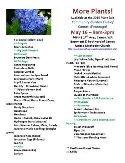 Yet More Plants!  May 16, 9am-3pm, Plant Sale, Camas,WA