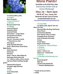 Yet More Plants!  May 16, 9am-3pm, Plant Sale, Camas, WA