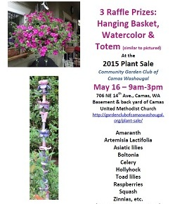 3 Great Raffle Prizes @ May 16 Plant Sale & moreplants!