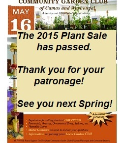 The 2015 Plant Sale has passed.  Thank you and see you next spring!