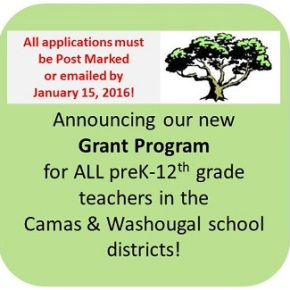 NEW!!!  Grants to Camas & Washougal school district teachers!