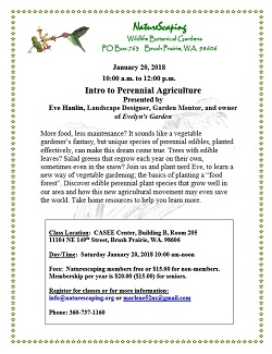 Intro to Perennial Agriculture – Jan 20, 10am-12 – Naturescapers' class