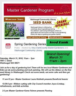Grand Opening!  Washougal Library SEED BANK – March 31, 11am-3pm