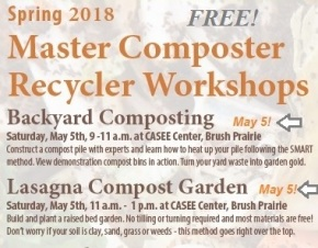 TWO FREE composting classes May 5: 9-11 Backyard  & 11-1 Lasagna Garden!