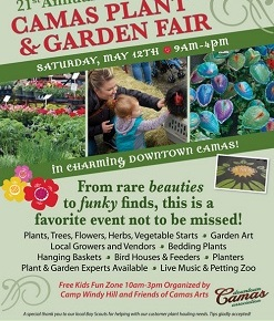 May 12, 9am-4pm, Camas Plant & Garden Fair