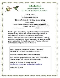 Living Walls & Vertical Gardening Class – July 21st,10am-noon