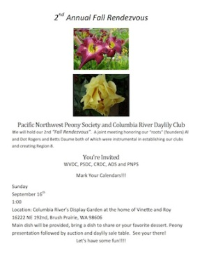###### EVENT CANCELLED ###### Sept. 16-1PM  Pacific Northwest Peony Society and Columbia River Daylily Club