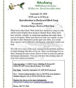 Intro to Bird Song – 15Sep2018, Sat, 10am-noon, Brandon Burger