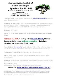 2018-19 Updated Speakers List – Feb 27 – HellstripGardening!