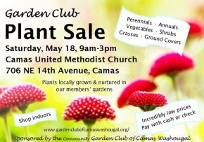 Annual Plant Sale May 18, Saturday, 9am-3pm