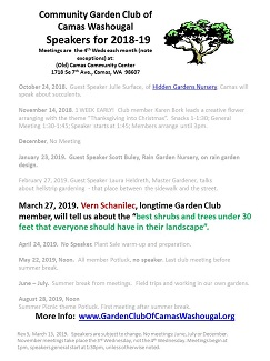 Updated 2018-19 Garden Club Speaker List