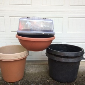 Pots and other gardening items at the Plant Sale May 18th!