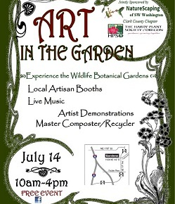 "Annual ""Art in the Garden"" is July 14, Sunday, 10am-4pm"