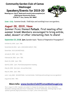 Aug 2019 – Aug 2020 Speaker/Event List Info | garden