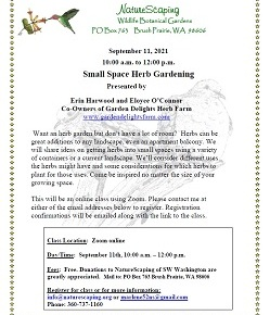 Small Space Herb Gardening – Sep 11, 11am-noon, ZOOM CLASS – preregistration &free